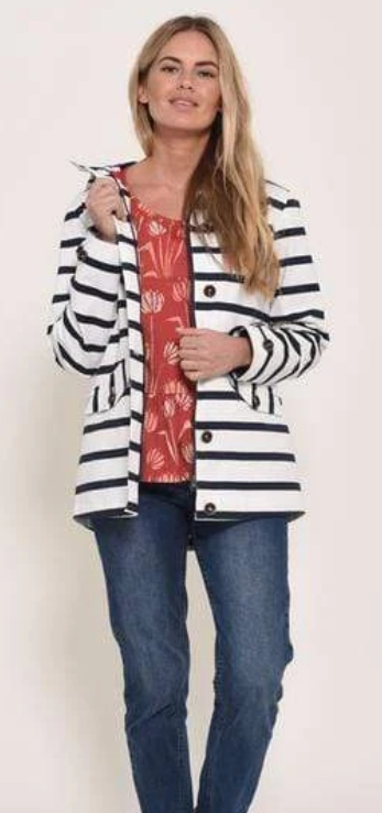 Brakeburn jacket. White base jacket with navy stripes. two pockets and button up detail with matching hood