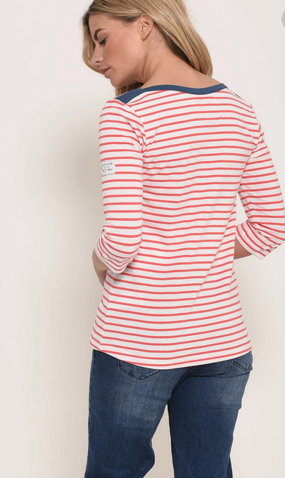 3/4 length sleeve Tshirt with red and white stripes and navy rim details