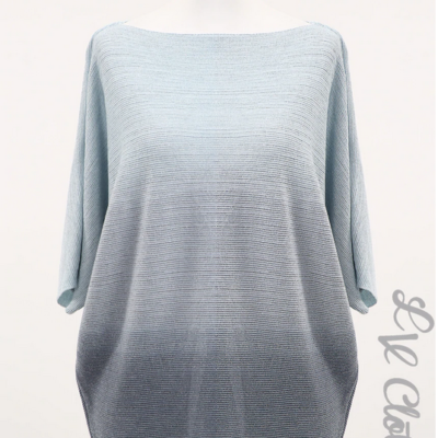 Blue toned tie dye effect knitted jump