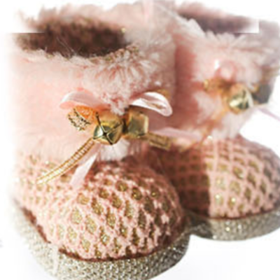 Baby pink woven effect booties hanging ornament