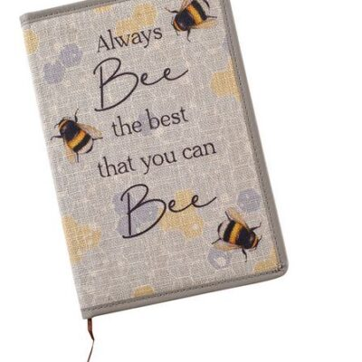 Always bee the best that you can bee notebook. Grey with yellow flowers and bumble bees