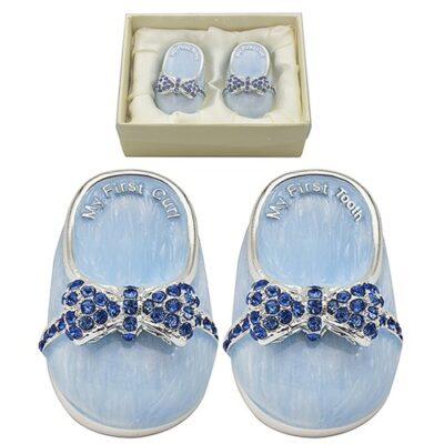 Blue baby booties with dark blue rhinestones