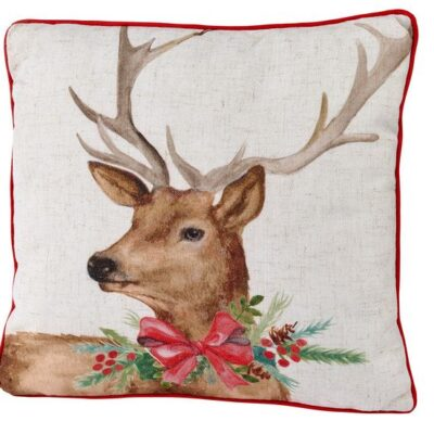 white square cushion with a stag with a red festive bow