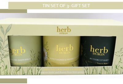 boxed gift set of 3 tinned herb candles