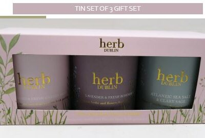 boxed gift set of 3 herb tinned candles