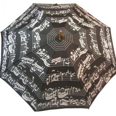 Black Music Notes umbrella with a wooden hook handle