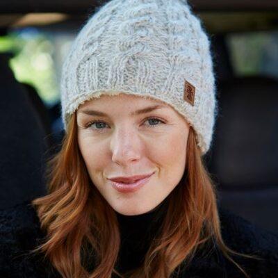Cream wool bobble beanie hat