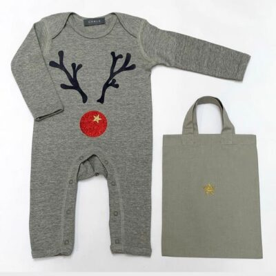 Charcoal Christmas Rompsuit with reindeer antlers and red nose