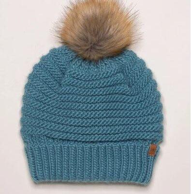 Petrol Bluye chunky knit hat with mink pom pom