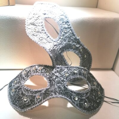 Decorative light weight masks. Silver nad charcoal embellished