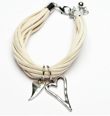 cream suede bracelet with twin hearts