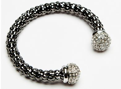 pewter bangle with crystal ended detail