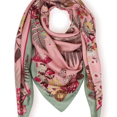 pink and green floral hedgehog scarf