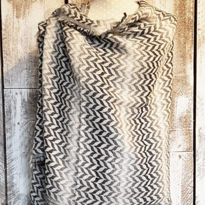 Winter Shawl Grey Chevron