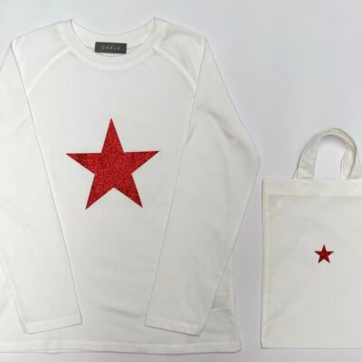 chalk baby t shirt with red star