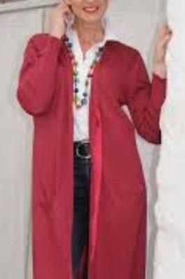raspberry long tie cardigan