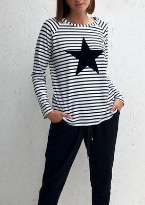 Robyn Black Stripe with Black Star