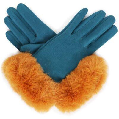 Bettina Mustard Teal Gloves