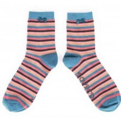 teal stripe socks